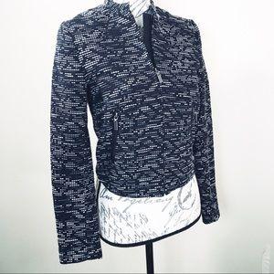 H&M Black stitch pattern zip up jacket